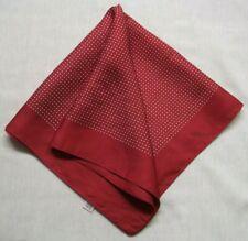 Mens Vintage Hankie Handkerchief BURGUNDY Silk 1970s Polka Dot Dots Spotty