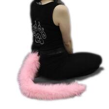 PAWSTAR Furry Kitty Cat Plush Tail - Pastel Baby Pink Kawaii Kitten [PI]3500