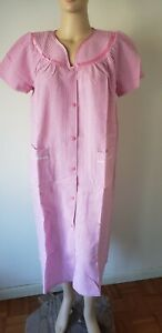 Only Necessities Womens Nightgown Robe Duster M 14/16 Gingham Snap Cotton Blend