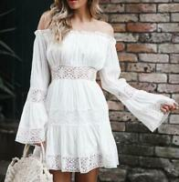 4cd565b47b2c Womens Embroidery Floral Lace Off Shoulder Long Sleeves Mini Dress Slim  Skirt H2