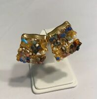 Abstract Clip On Earrings Mod Abstract Mixed Materials Retro Vintage Jewelry