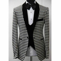 Men Houndstooth Dogstooth Suit Checkered Tuxedos Groom Prom Wedding Suit Blazer