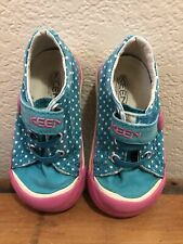 Keen Toddler Girl's Tennis Shoes Size 5 teal & pink with polka dots