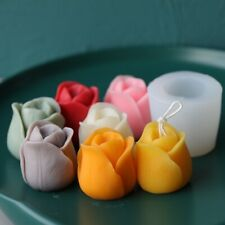 3D Silicone Candle Mold Rose Flower Shape Aromatherapy Soap DIY Cake Mould Decor