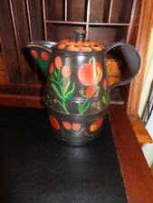 """Antique Tin Coffee Pot Freehand Country Painted (11"""" x 11"""")"""