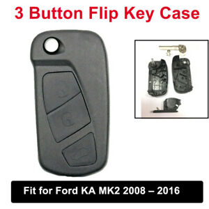 Replacement 3 Button Flip Key Case Cover Remote Fob For Ford KA MK2 2008-2016
