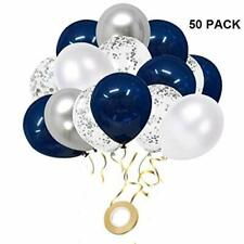 50 pcs Navy Blue and Silver Confetti Balloons Party Balloons for Birthday 12 in