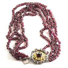 Choker Traditional German Jewelry 4 Strand from Garnet rhodolite with