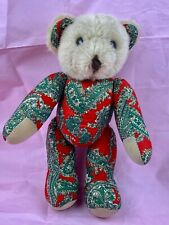 Vintage Dillards Jointed Teddy Bear Paisley Stuffed Animal Red Green Collectible