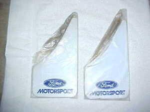 (4) NOS Ford Motorsport Mud Flaps Splash Guards White Mustang GT LX SVO - 2 Pair