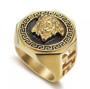 Versace Monogram Ring Medusa Ancient Greek Titanium Gold Color For Men Women