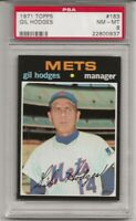 1971 TOPPS # 183  GIL HODGES, PSA 8 NM-MT, NEW YORK METS, L@@K