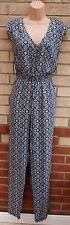 G21 NAVY BLUE WHITE ZIP FRONT VTG BELTED FLORAL PAISLEY JUMPSUIT ALL IN ONE 14 L