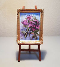 Miniature Dollhouse Picture - Victorian Roses - Ready to Hang