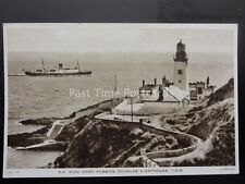 Isle of Man S.S. KING ORRY Passing Douglas Lighthouse c1943 Postcard by R. Tuck