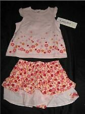 NWT Baby Girls CARTERs 3 mos Shirt Skirt Skort Top Outfit Set Peach Floral