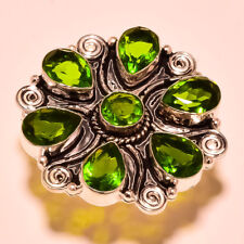"""FACETED PERIDOT TOPAZ GEMSTONE 925 SILVER PLATED RING SIZE UK """"N""""/US """"7"""""""