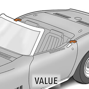 1968-1969 Corvette C3 Convertible Body Lock Pillar Seals Pair 642856