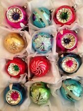 12 JAPAN Glass Indent Reflector Painted Mica Stencil Xmas Feather Tree Ornament