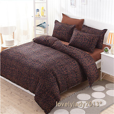 Coffee Leopard Print Single Size Bed Quilt/Doona/Duvet Cover Set Polyester 3PCS