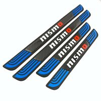 4PCS Blue Rubber Car Door Scuff Sill Cover Panel Step Protector For Nismo