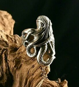Kraken Ring Octopus Biker Gothic Solid Silver Ocean Sea Monster squid Warlock