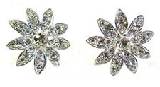 Silver Crystal Flower Stud Earrings Women Girls Wedding Dress Fashion Jewellery