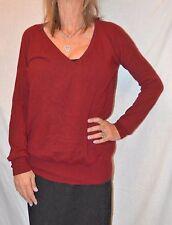 Barrow & Grove maroon 100%  Cashmere deep v Neck Sweater Size XS