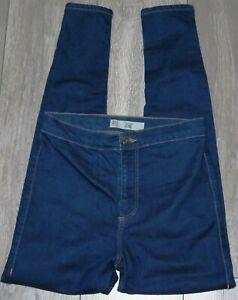 Womens🦋TOPSHOP🦋blue stretch JONI skinny high waist denim jeggings size 30(12)