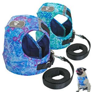 Fabric Reflective Small Dog Harness & Leash Set Soft Padded Pet Puppy Cat Vest