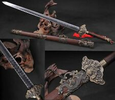 """44.09""""Handmade Chinese Sword """"God of Wealth  Jian""""(劍) Carbon Steel Alloy Fitting"""