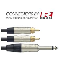 Câble Jack 6,35 Mâle MONO vers 2 RCA Mâle Longueur 3 Metres Marque REAN