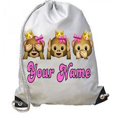Personalised Girls Emoji Crown Bow Princess Monkey Gym School PE Swim Dance Bag!