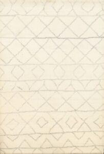 ModernTrellis Geometric Moroccan Oriental Area Rug Hand-Knotted Wool Carpet 5x7
