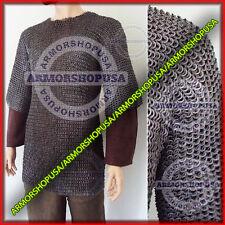 Medieval Chainmail Hauberk 8mm Flat Rivet Flat Washer Chain mail Shirt XL Size