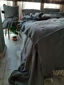 Linen Bedding Set 5 pcs queen king duvet cover sheets pillowcase fitted flat