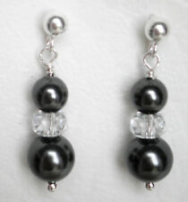 925 silver crystal and faux black pearl butterfly back earrings Approx. 3cm drop