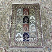 YILONG 2'x3' Four Seasons Handknotted Silk Area Rug Home Indoor Carpet HF085B