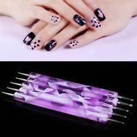 5PCS 2Way Marbleizing Dotting Manicure Tools KitsPainting Dot Pen Nail Art Paint