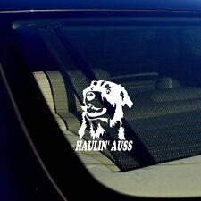 "Haulin' Auss Australian Shepherd White Decal Sticker I Love My Rescue Dog 5"""