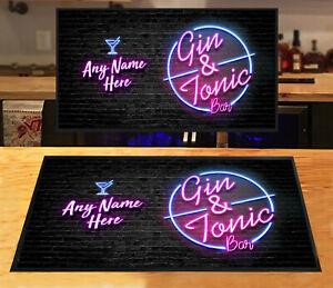 Personalised bar runner Pink Neon effect Gin & Tonic Bar mat Parties Home bars
