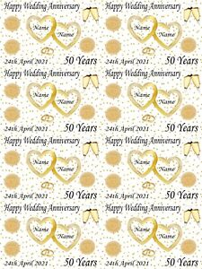 Personalised Golden 50th Wedding Anniversary Wrapping Paper ADD NAMES & DATE