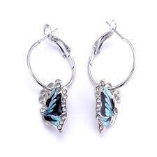 Elegance 1Pair Blue Crystal Rhinestone Enamel Butterfly Dangle Hoop Earrings