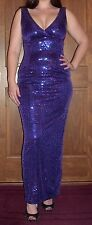 Sz 2 Purple Sequin Full Length  Formal Prom Wedding Special Occasion Dress