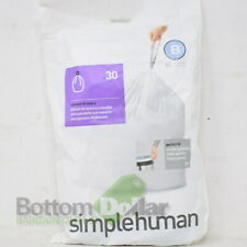 Simplehuman Code B - 30 Pack 6 Liter/1.6 Gal Custom Fit Trash Can Liners White