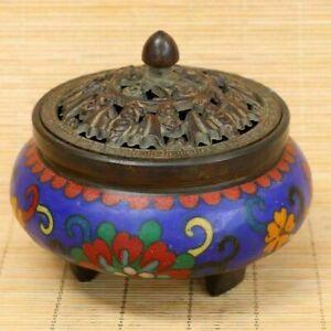 Collectibles Copper Cloisonne Enamel Incense Burner Brass Statue AP456