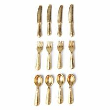 1/12 Doll House Miniature Stainless Steel Tableware Set 12 Items Gold