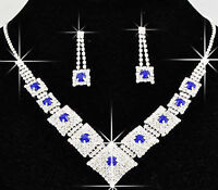 Bridal Jewellery Blue Rhinestones Set Drop Earrings & Necklace Choker S222B