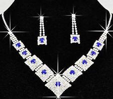 Bridal Jewellery Blue Rhinestones Set Drop Earrings & Necklace Choker S222B