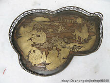 Chinese Folk Copper carve gourd Kong Zi lecture Cattle land dish plate